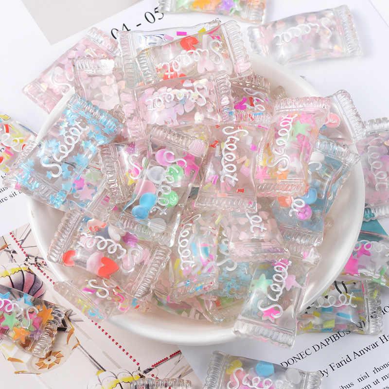 10 Uds. 33x18mm mezcla de colores de resina Kawaii Glitter Sweet Candy Flatback cabujones para DIY Centro de lazo de pelo Scrapbooking Accesorios