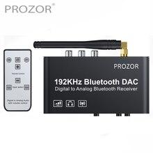 PROZOR 192kHz 디지털 아날로그 컨버터 (원격 제어 포함) Bluetooth DAC 디지털 동축 Toslink 아날로그 스테레오 L/R RCA
