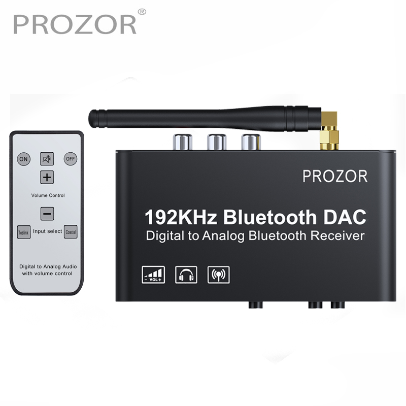 PROZOR 192kHz Digital to Analog Converter with Remote Control Bluetooth DAC Digital Coaxial Toslink to Analog Stereo L R RCA