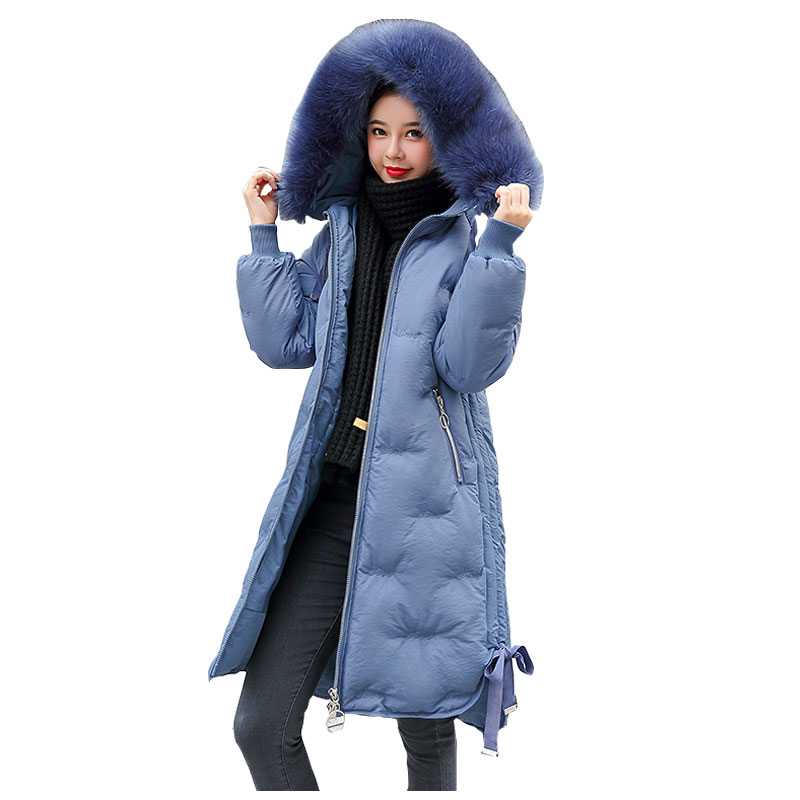 Long Hooded Fur Coat Snow Embroidery Winter Down Coat Women Oversize Jacket Cotton Padded Wadded Parkas Wind Breaker Sleeves