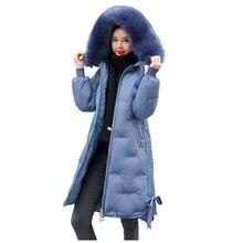Long Hooded Fur Coat Snow Embroidery Winter Down Coat Women Oversize Ja