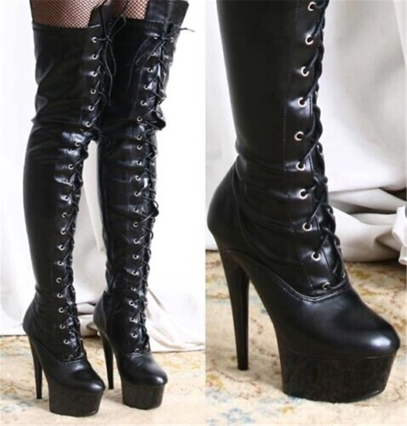 New style dancing shoes 15cm super high heels nightclub hate sky high shoes over knees, boots, Street tide boots