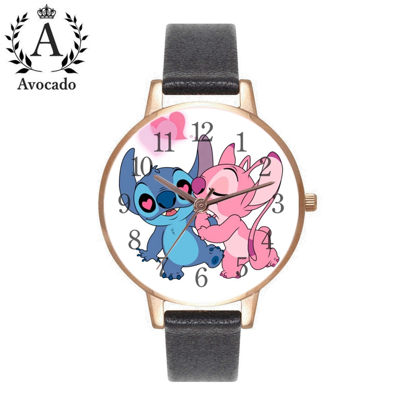 New Leather Stitch Watches Women's Watch Quartz Wristwatch Cartoon Kid Gift