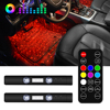 1 Set Car Foot Ambient Light RGB LED Strip Lights With Star Light Projector Music Control Interior Atmosphere Accent Lighting