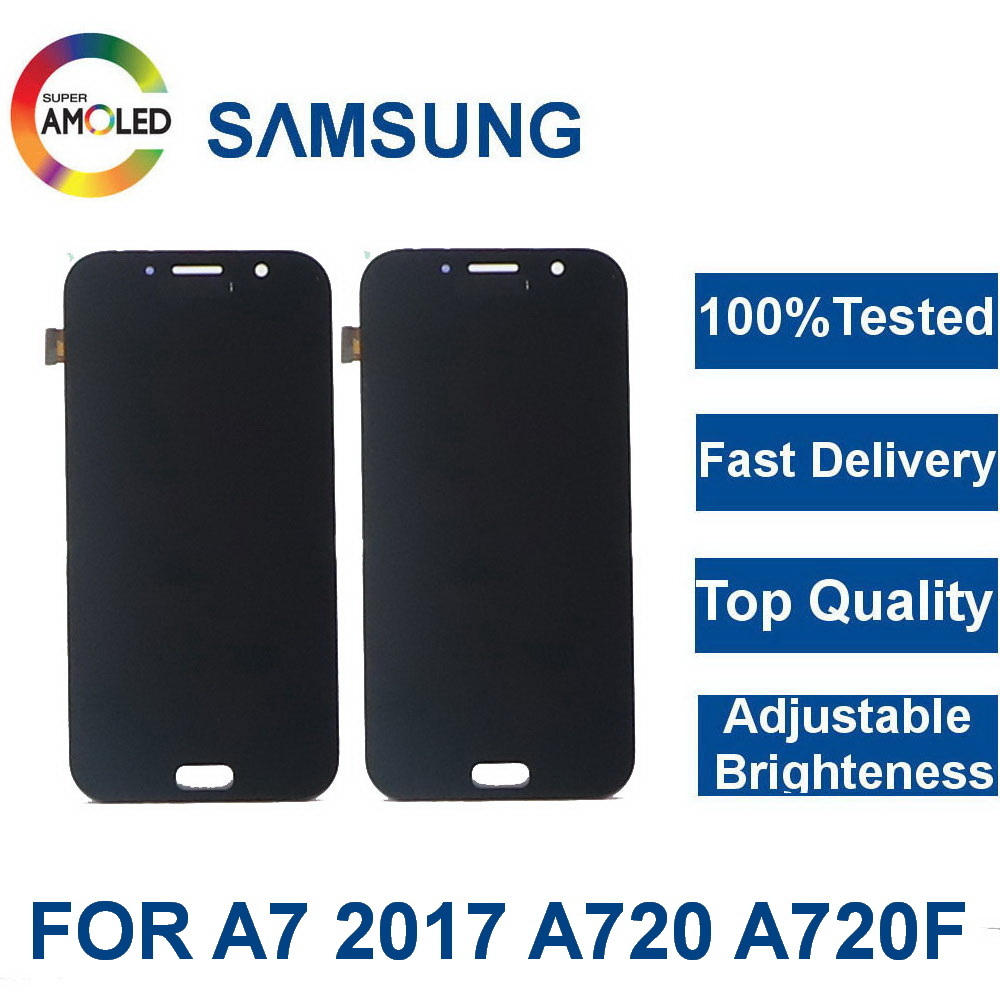 Super AMOLED For <font><b>Samsung</b></font> Galaxy A7 2017 <font><b>A720</b></font> A720F A720M Phones <font><b>LCD</b></font> Display Touch Screen Digitizer Assembly + adjust brightness image
