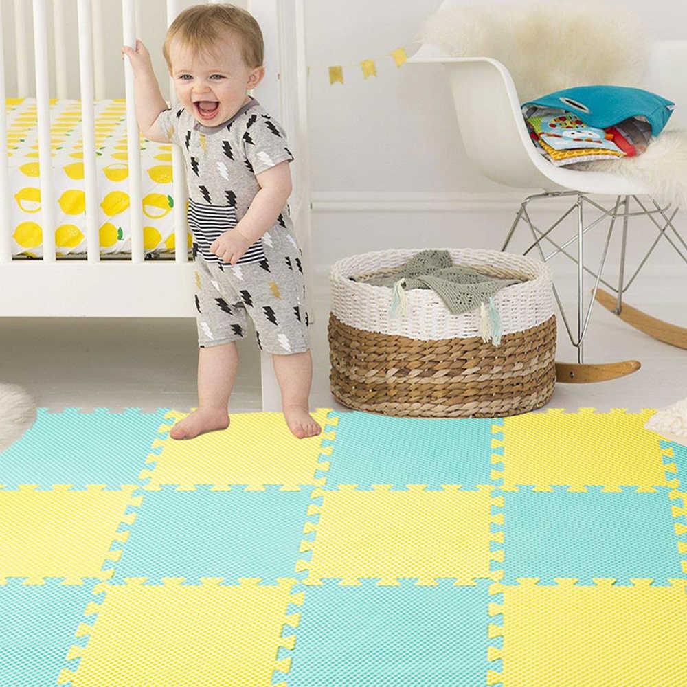 10 adet bebek oyun matı EVA köpük çocuk halı çocuk halı bulmaca çocuk Mat kilit Smmmer serin kat Playmat 30*30*1 CM