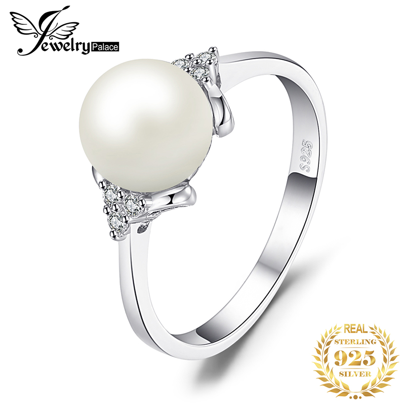 JewPalace 8mm Freshwater Cultured Pearl Ring 925 Sterling Silver Rings For Women Engagement Ring Silver 925 Gemstones Jewelry