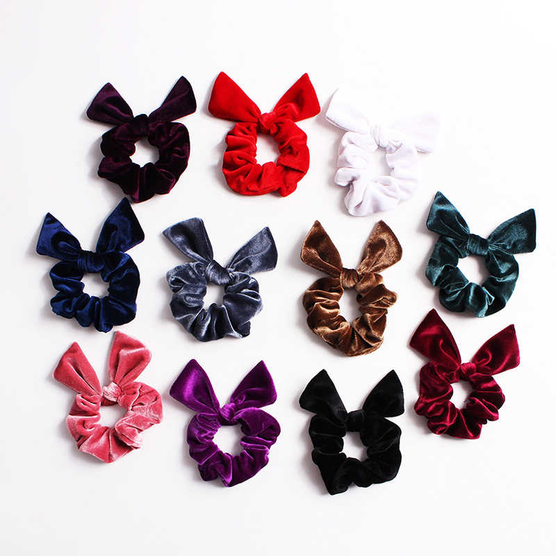 52 Colors Velvet Rabbit Ear Scrunchie Women Elastic Rubber Bands Gum Girls Hair Ties Hair Rope Ponytail Holder Hair Accessories