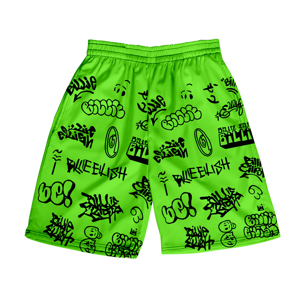 Shorts Billie Eilish Shorts For Woman Lady Teens Girls High Waist 3D Loose Shorts Green Sport Tour Beach Hip Hop Casual Shorts