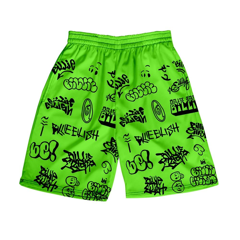 Shorts Billie Eilish Shorts For Woman Lady Teens Girls High Waist 3D Loose Shorts Green Sport Tour Beach Hip Hop Casual Shorts