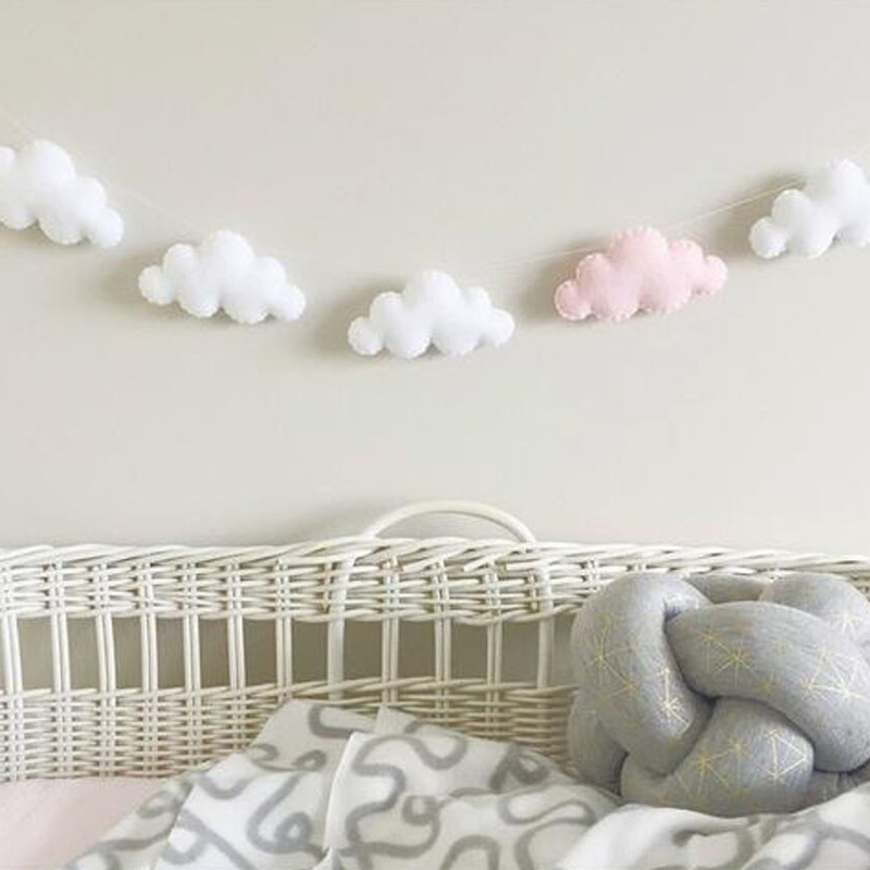 guirlandas de feltro nuvem brinquedo ins corda nordic bebe criancas decoracao do quarto parede pendurado ornamentos