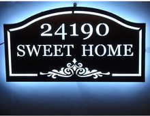 Led Metal House Street Address Plaque, Custom House Number Address Name Sign for Home Yard Door Cast Lawn Mounted Arch Plaque custom house number acrylic house sign with house number