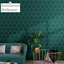 Hexagonal Green Wallpaper Wall Sticker Decorative Film Can Be Used For Store Room Living Room Bedroom Kitchen Bathroom Roll Pape