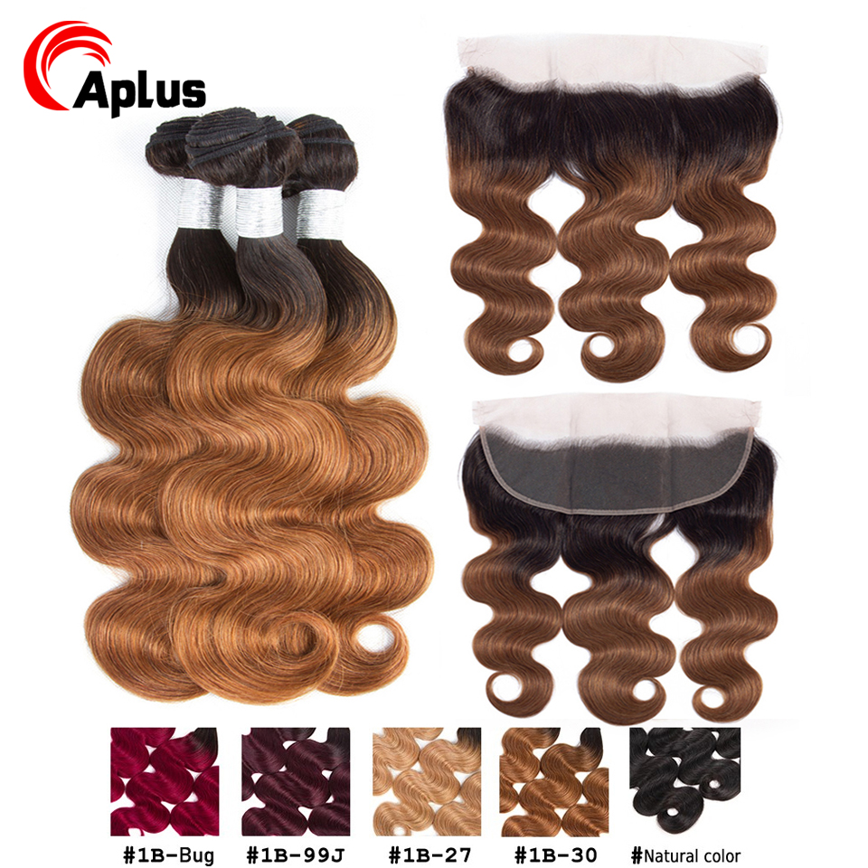 Ombre Brazilian Human Hair Weave Bundles With Closure 1b 30 27 Honey Blonde Body Wave 3 Bundles With Frontal Remy Hair Extension