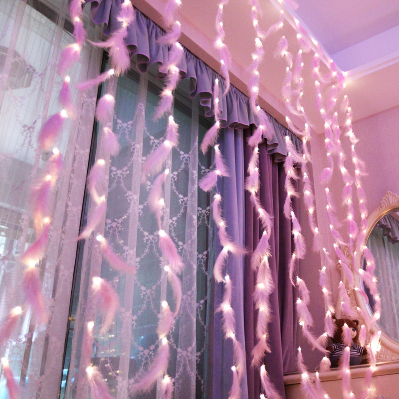 Fairy Curtain Led Light Garland Lights 3x3M Christmas Decorative LED String Xmas Party Garden Wedding Bedroom INS Feathers Light