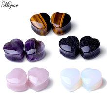 Miqiao 1pc quente orelha expansão amor em forma de coração pedra pinna brincos piercing jóias plug túnel jóias