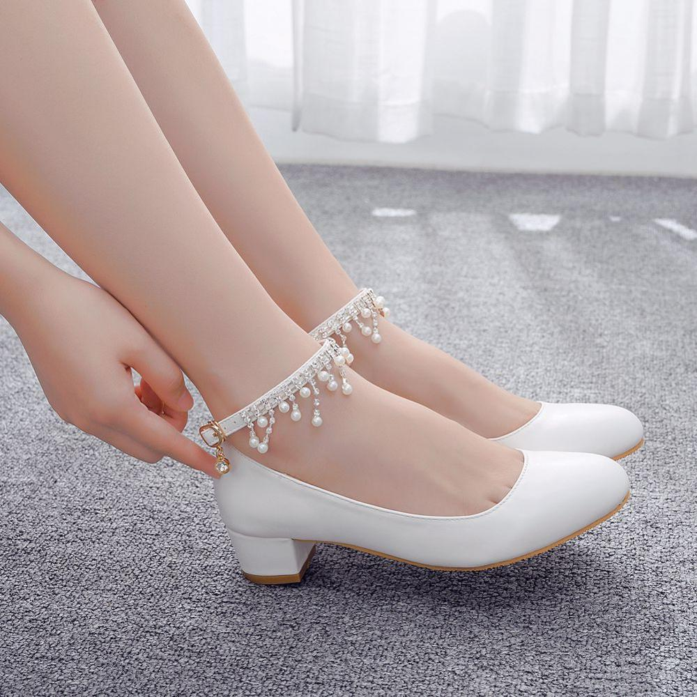 Crystal Queen Women's High Heels Water drill Pendant Chain Sexy Bride Party 3CM Heel Pointed toe Shallow mouth High Heel Shoes