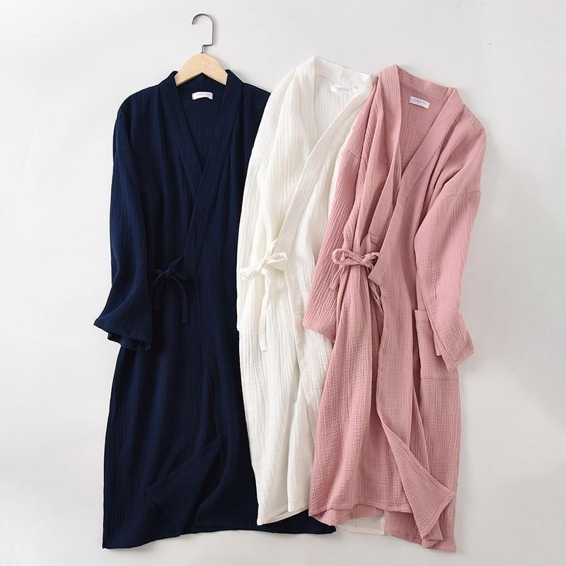 Couples Crepe Gauze Bathrobe Solid 100% Cotton Robe Long-sleeved V-neck Kimono Wedding Robes Sleepwear Plus Size Dressing Gown