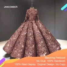 J66991 jancember lantejoulas brilhando quinceanera vestidos 2020 alta pescoço vestidos de baile lantejoulas manga longa
