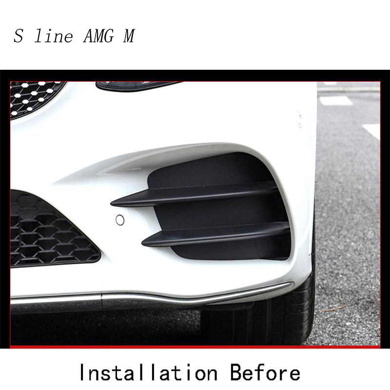Cuque 4Pcs Carbon Fiber Style Car Accessories Exterior Front Fog Light Strips Fog Lamp Cover Strip Trim for Mercedes Benz GLC-Class X253 2016 2017 2018