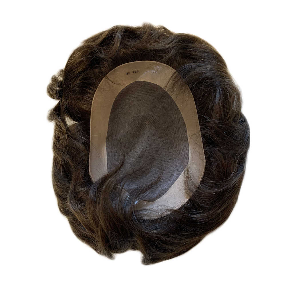 BYMC Swiss Lace & PU Toupee Replacement Systems Handmade Men Wig Hairpiece Natural Remy Indian Human Hair 6 Inch