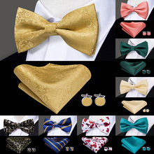 Hi-Tie Classic Black Bow Ties for Men 100% Silk Butterfly Pre-Tied Bow Tie Pocket Square Cufflinks Suit Set Floral Gold Bowties