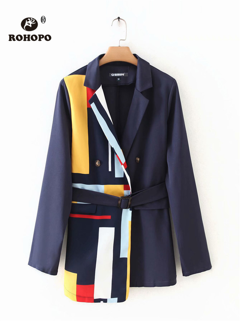 ROHOPO Gradient Printed Contrast color Waistband Blue Blazer Notched Collar Side Flaps Welted Pockets Chic Ladies Outwear #9019