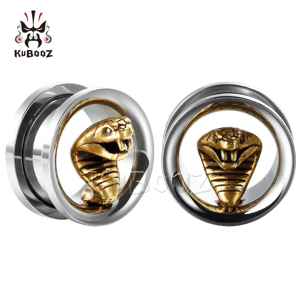 KUBOOZ Cobra Stainless steel Earrings Ear Piercing Stretchers Expanders New Arrival Ear Plugs Body Jewelry For women men 2PCS