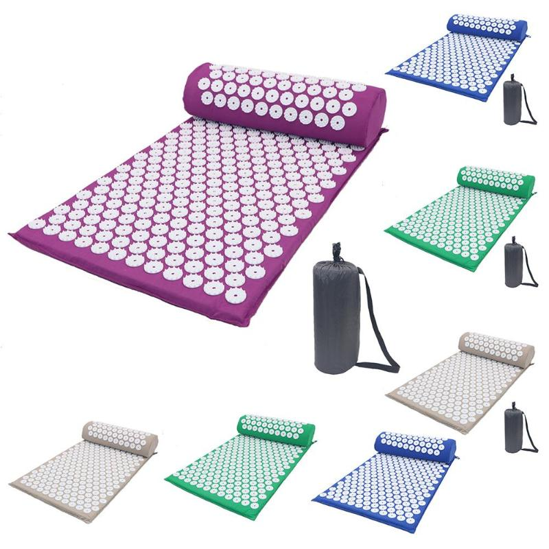 Masseur coussin Massage tapis de Yoga acupression soulager le Stress dos douleur du corps tapis de pointe Acupuncture Massage tapis de Yoga avec oreiller