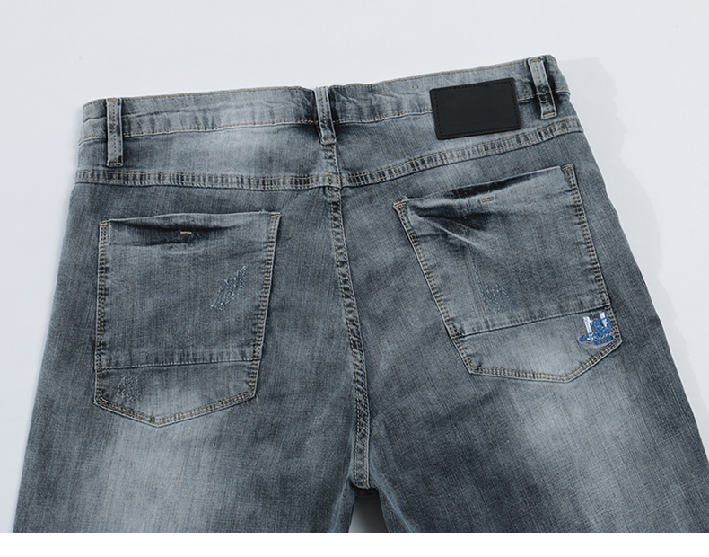 KSTUN Jeans Shorts Mens Grey Jeans Stretch Slim Straight Vintage Casaul Pants Summer Denim Shorts Male Jeans High Quality Brand 14