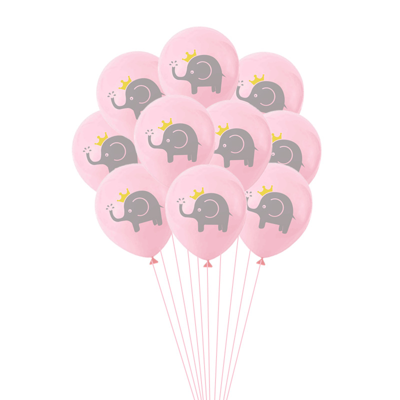 10PCS Set Cartoon Baby Elephant Balloon Latex Confetti Decorations Balloons kids Wedding Party Babyshower Theme Decor Supplies in Ballons Accessories from Home Garden