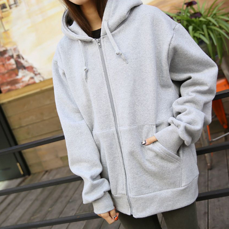 Autumn Spring Fashion Hooded Outwear Hoodies Women Casual Long Sleeve Zip-up Sweatshirts Loose Ladies Streetwear Tops Winter