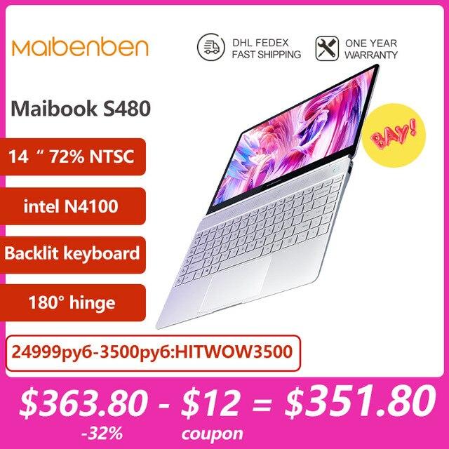 "Laptop MAIBENBEN JinMai 6 S480 [14""FHD, 72% NTSC, intel N4100, Backlit keyboard] 1 year warranty,Portable 1"