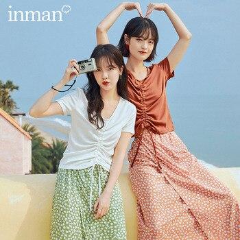 INMAN 2020 Summer New Arrival Drawstring Short Sleeve T-shirtCasual Shivering Skirt