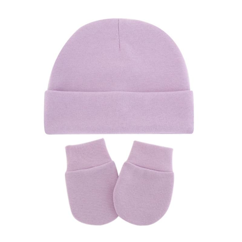 Baby Infants Anti Scratching Cotton Gloves+Hat Set Newborn Mittens Warm Cap Kit