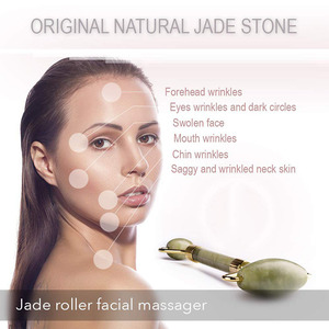 Image 4 - KURADI Double Head Green Facial Massager Roller Natural Jade Stone GuaSha Face Slimming Body Head Neck Natural Massage Tool 2019