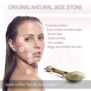 Image 4 - KURADI כפול ראש ירוק פנים לעיסוי רולר טבעי ירקן אבן GuaSha פנים הרזיה גוף ראש צוואר טבעי עיסוי כלי 2019