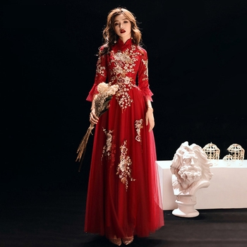 wedding gown toasting suit wedding dress Chinese style Chinese cheongsam stand-up collar wedding back door evening dress female