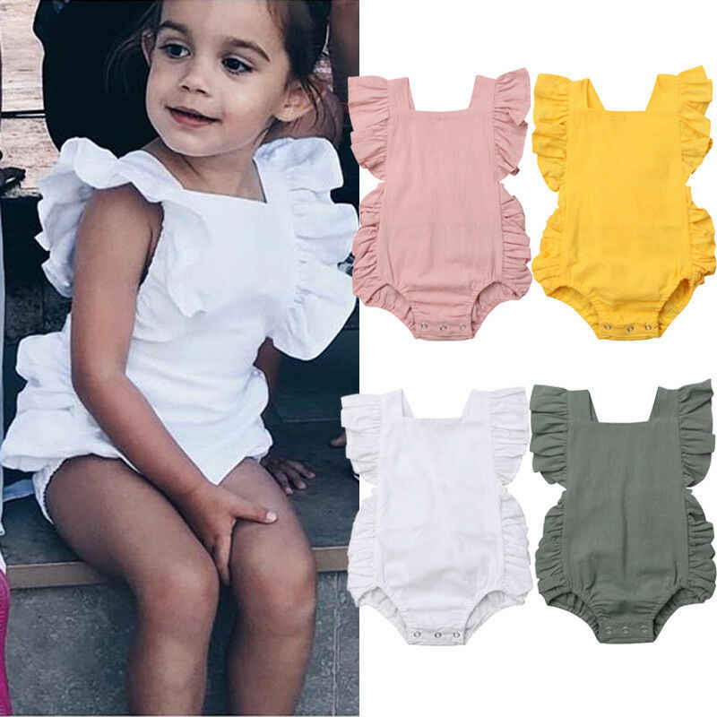 Newborn Baby Girl Ruffle Solid Color Romper Bodysuit Jumpsuit Outfit Sunsuit