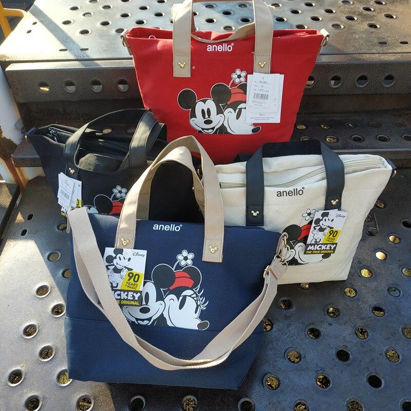 Disney New Large Handbag Mimi Canvas Print Cartoon Mouse Portable Diagonal Ladies Single Shoulder Small Square Bag