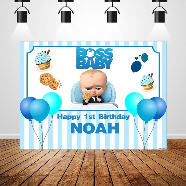 Sxy1580 Cartoon Fotostudio Achtergrond Ballonnen Blauwe Strepen Custom Boss Baby Achtergrond Jongens 1st Verjaardagsfeestje Banner 220x150cm