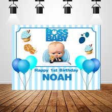 Sxy1580漫画のフォトスタジオの背景風船ブルーストライプカスタムbossベビー背景男の子1st誕生日パーティーバナー220x150cm