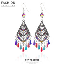 Hello Miss Bohemian geometric crystal  pendant earrings tassel retro national style womens jewelry