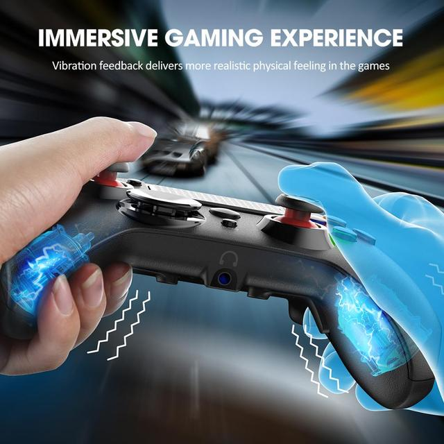 Pictek Wireless Gaming Controller for PS4/PC Rechargeable Gamepad with Audio Port/Dual Vibration/Turbo Linear Trigger Joypad 2