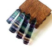 Quartz – pierre de traitement hexagonale en Fluorite naturelle colorée, pierre de guérison