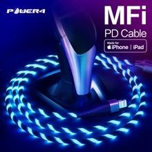 Power4 MFi USB C إلى كابل البرق 18 واط PD أبل شاحن سريع معتمد ل iPhone11 برو ماكس X XS 8 XR باد ماك بوك نوع C كابل