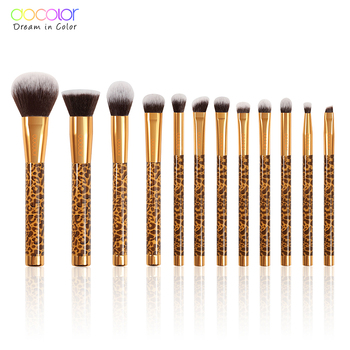 Docolor 12Pcs Makeup Brushes Cosmetic Powder Foundation Eyeshadow Make Up Brushes Set Hair Synthetic Makeup Brush
