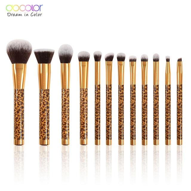 Docolor 12Pcs Makeup Brushes Cosmetic Powder Foundation Eyeshadow Make Up Brushes Set Hair Synthetic Makeup Brush