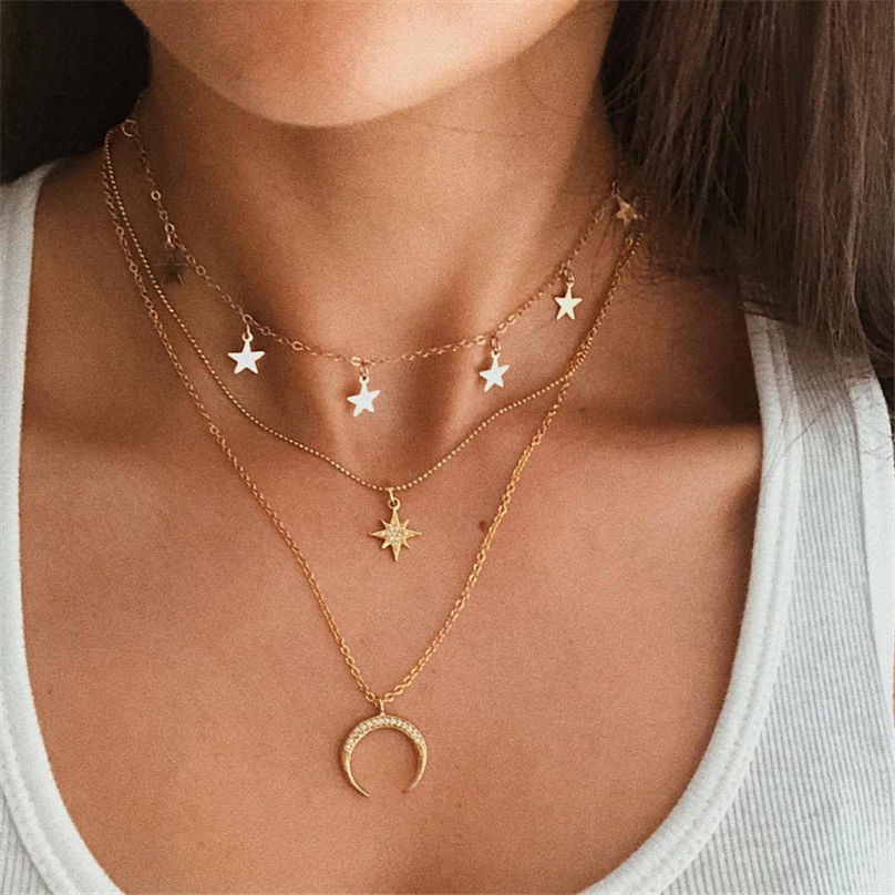 New Fashion Jewelry Pentagram Pendant Clavicle Chain Vintage Star Crescent Three-Layer Women Necklace Choker 4O24 (2)