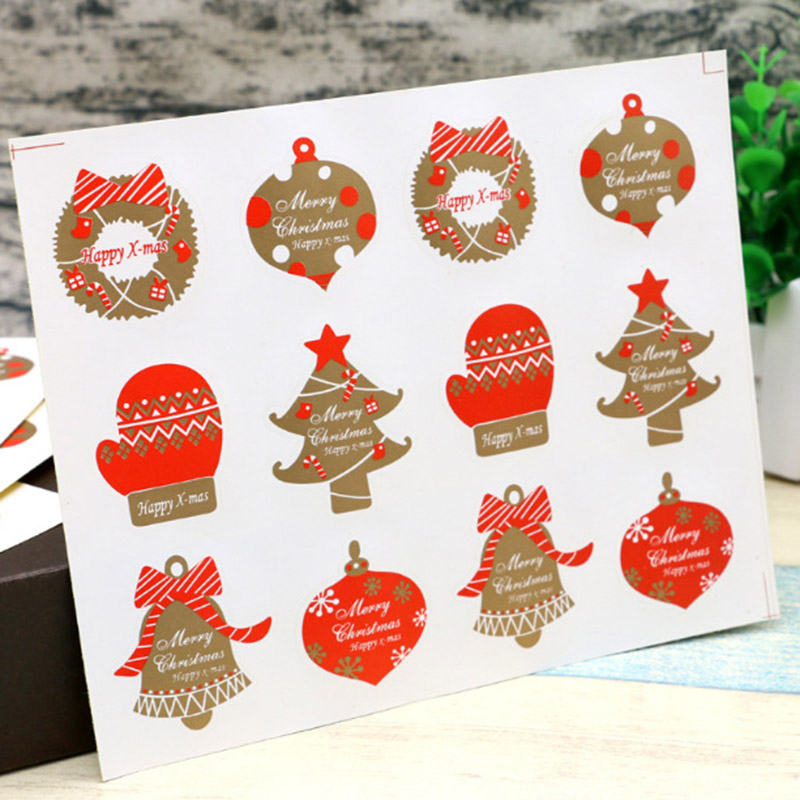 12 Pcs/Sheet Merry Christmas Stickers Happy Xmas Stickers For Decorative Self-adhesive Sealing Stickers Gift Stationery Sticker
